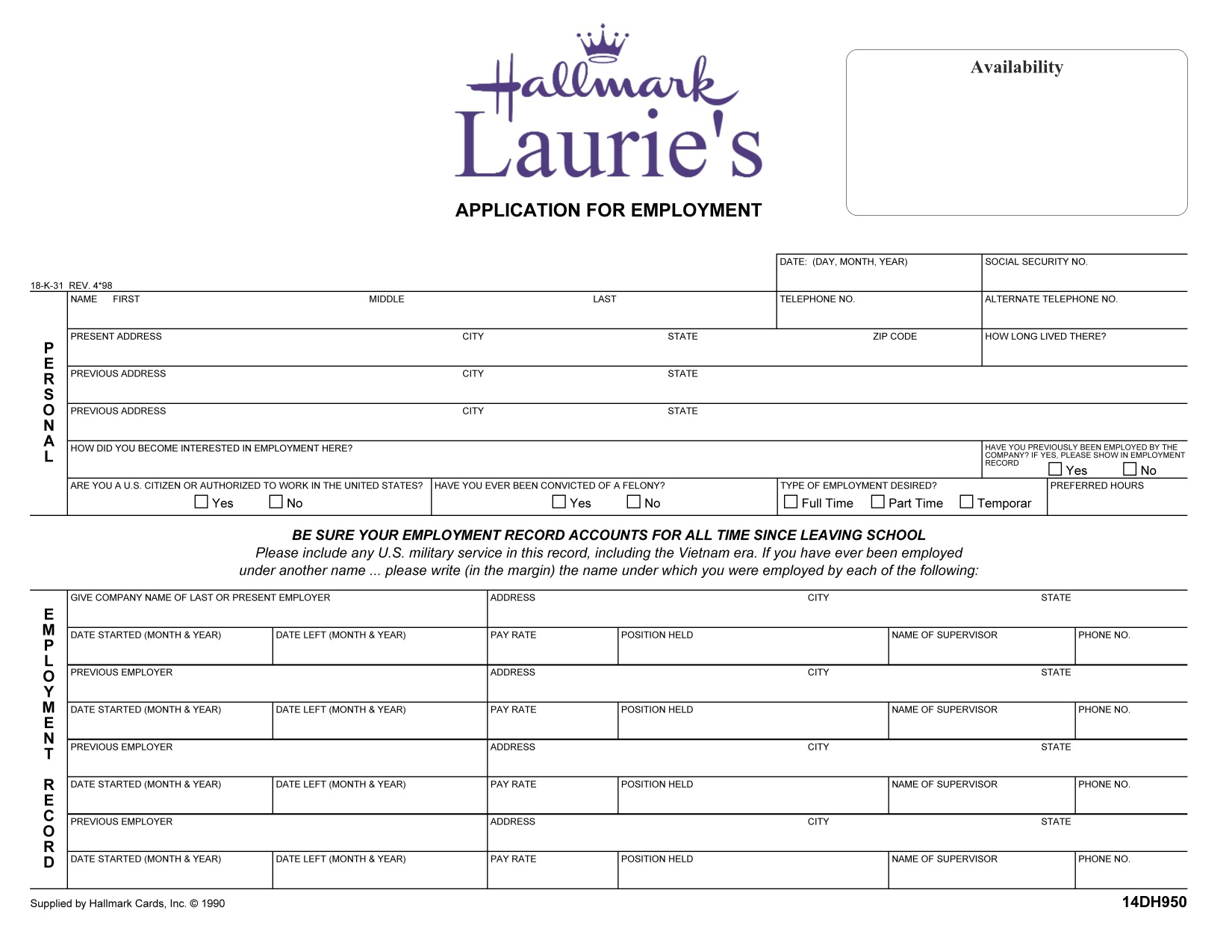 Laurie's Hallmark Employment Application